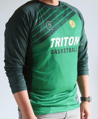 Run Guam Triton Basketball Warm Up Long Sleeve Tee Green