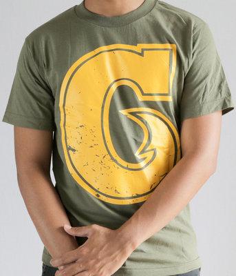 Hafaloha© Big G T-Shirt (Yellow on Military Green)